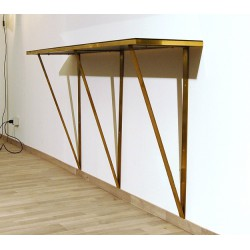 Console Table Art. 1065 - Brass Structure - Crystal Top