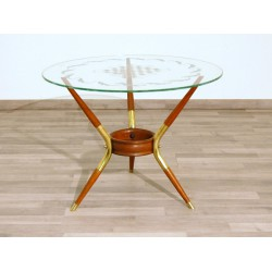 Original Coffee Table 1950 - Art. 1725 - Silk-screened Crystal Top - Wood / Brass Structure