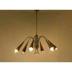 Lampada da Soffitto Originale 1950 - Art. 1728 - 6 DIFFUSORI - Ottone / Metallo