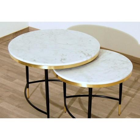 SET di 2 Tavolini Art. 1737 / 1740 - Piano in Marmo Bianco - Struttura in Metallo
