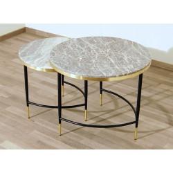 SET di 2 Tavolini Art. 1738 / 1739 - Piano in Marmo GRIGIO / ROSA - Struttura in Metallo