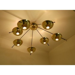 Ceiling Lamp Art. 1743, 7 DIFFUSERS - Brass / Metal / Opal Glass