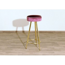 Velvet Stool - Art. 1744 - Structure Brass - PINK Color