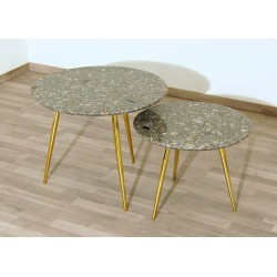 SET of 2 Coffee Tables Art. 1747 / 1748 - GRANITE Top - Brass Structure