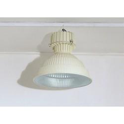 Lampada industriale a Sospensione Anni '60 - Art. 1749 - Alluminio / Metallo - Restaurata - BIANCO