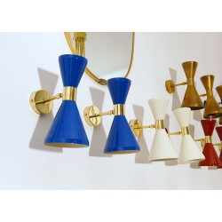 Applique Double Cone Art. 1722 - 2 DIFFUSERS - Brass / Metal