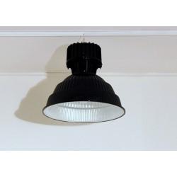 Lampada industriale a Sospensione Anni '60 - Art. 1749 - Alluminio / Metallo - Restaurata - NERO