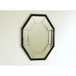 Art Deco Wall Mirror - Wood Edge / Brass Inserts - Italy 1940