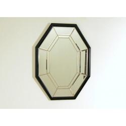 Specchio da Parete Art Déco - Bisellato / Bordo Legno / Inserti Ottone - Italy 1940
