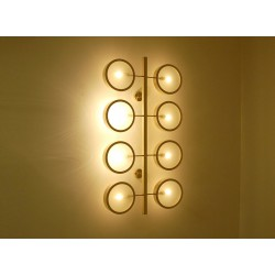 Wall / Ceiling Lamp Art. 1769 - 8 DIFFUSERS Opal Glass - Brass Structure