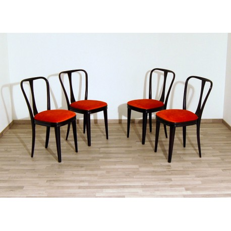 4 Original Chairs 1950s - Art. 1805 - RED Velvet - Wood Structure