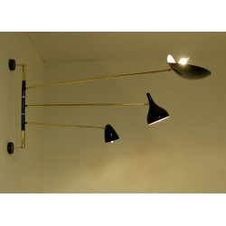 Wall Lamp Art. 1807 - 3 DIFFUSERS with ARTICULATED ARM - Brass structure
