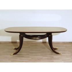 Tavolo da pranzo in legno di Mogano - Art. 1809 - Inserti in Ottone