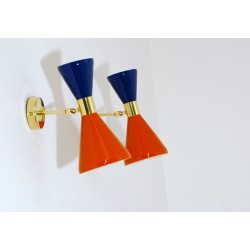 Wall Sconce Doublr Cone Art. 1845 - 2 DIFFUSERS - Brass / Metal - ORANGE - BLUE