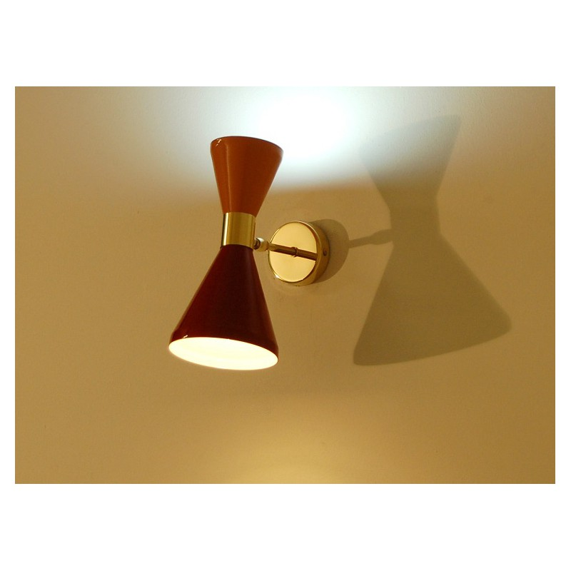 quality design 5e9a1 8568b Wall Sconce Double Cone Art. 1848 - 2 DIFFUSERS - ORANGE - RED