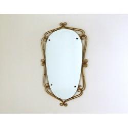 Wall Mirror Art Déco - Brass Frame - Italy 1940 - Art. 1841