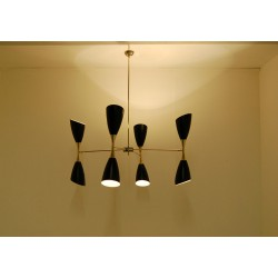 Lampada da Soffitto Art. 1866 - 4 DIFFUSORI Doppio Cono SNODATI - Ottone / Metallo