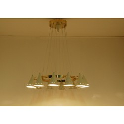 Ceiling Lamp Art. 1901 - 12 DIFFUSERS Articulated - Brass