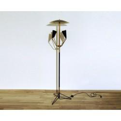 Floor Lamp, Art. 1018, 4 LAMPSHADES - Brass / Metal - BLACK Color