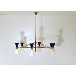 Lampada da Soffitto Art. 1914 - 6 DIFFUSORI Doppio Cono - Ottone Anticato