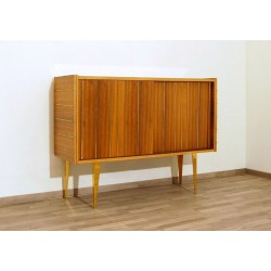 Original TEAK SIDEBOARD - Brass Insert - Art. 1433 - Crystal Top