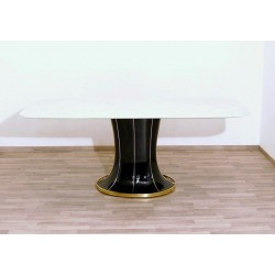 Original Table Art. 1434 - Carrara Marble Top - Lacquered Wood - Brass Inserts