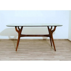 Original Table Art. 1430 - Crystal Top - Walnut Structure - Italy 1950