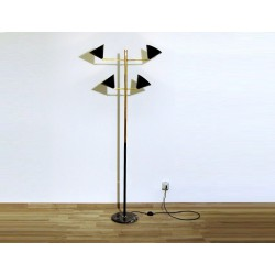Lampada da Terra, Art. 1020, 4 DIFFUSORI - Ottone / Metallo - Colore NERO