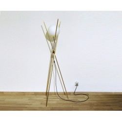 Floor Lamp, Art. 1066 - Brass / Opaline Glass Globe