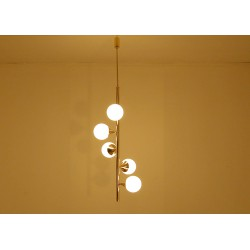 Ceiling Lamp ALBERELLO Art. 1422 - 5 DIFFUSERS Sphere Glass - Brass