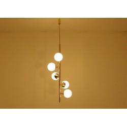 Lampada da Soffitto ALBERELLO Art. 1422 - 5 DIFFUSORI Sfera Glass - Ottone