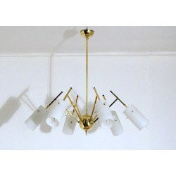 Ceiling Lamp Art. 1421 - 6 DIFFUSERS Opal Glass - Brass