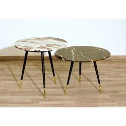 SET di 2 Tavolini Art. 1419 - Piano in Marmo - Struttura in Metallo
