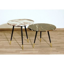 SET of 2 Coffee Tables Art. 1419 - Marble Top - Metal Structure