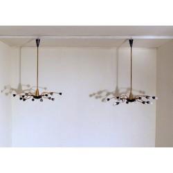 Pair of Original Ceiling Lamps Art. 1423 - 12 DIFFUSERS - Brass