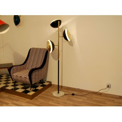Floor Lamp, Art. 1024, 3 LAMPSHADES - Brass / Metal - BLACK Color