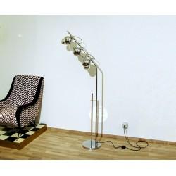 Floor Lamp, Art. 1026, 3 LAMPSHADES - GLOBE MAGNETIC - Chrome Plated Brass