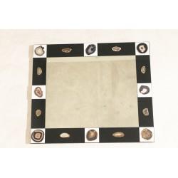 Specchio in opalino nero con inserti bianchi - Art. 1971