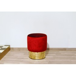 Cilindro Stool - with Velvet upholstery and Brass base - RED Color