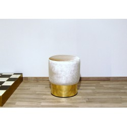 Cilindro Stool - Velvet upholstery and Brass base - WHITE Color