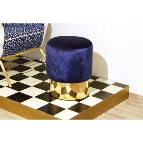 Cilindro Stool - Velvet upholstery and Brass base - BLUE Color
