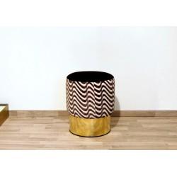 Cilindro Stool - Velvet upholstery and Brass base - WHITE / BLACK Color