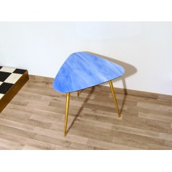 Small Table Art. 1030 - Blue Glass Top - Brass Structure
