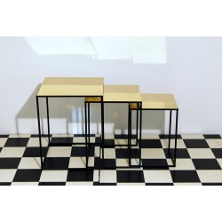 SET of 3 Coffee Tables Art. 1086 - Brass Top - Metal Structure