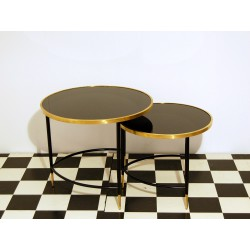 SET of 2 Coffee Tables Art. 1038 - Glass Top - Wood Structure