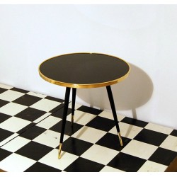 Small Table Art. 1035 - Black Glass Top - Wood Structure
