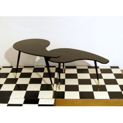 SET of Small Table Art. 1041 - Black Glass Top - Wood Structure