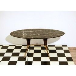 Small Table Art. 1047 - Brass and Wood Structure - Marble Top - Italy 1950