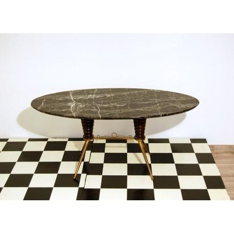 Tavolino Art. 1047 - Struttura in Ottone e Legno - Piano in Marmo - Italy 1950
