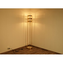 Floor Lamp, Art. 1073, 3 LAMPSHADES - Brass / Marble / Opaline Glass